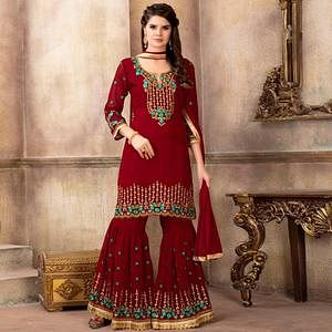 Impressive Red Colored Party Wear Embroidered Faux Georgette Palazzo Suit