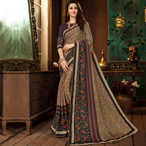 Beautiful Beige-Multi Colored Partywear Printed Georgette Saree