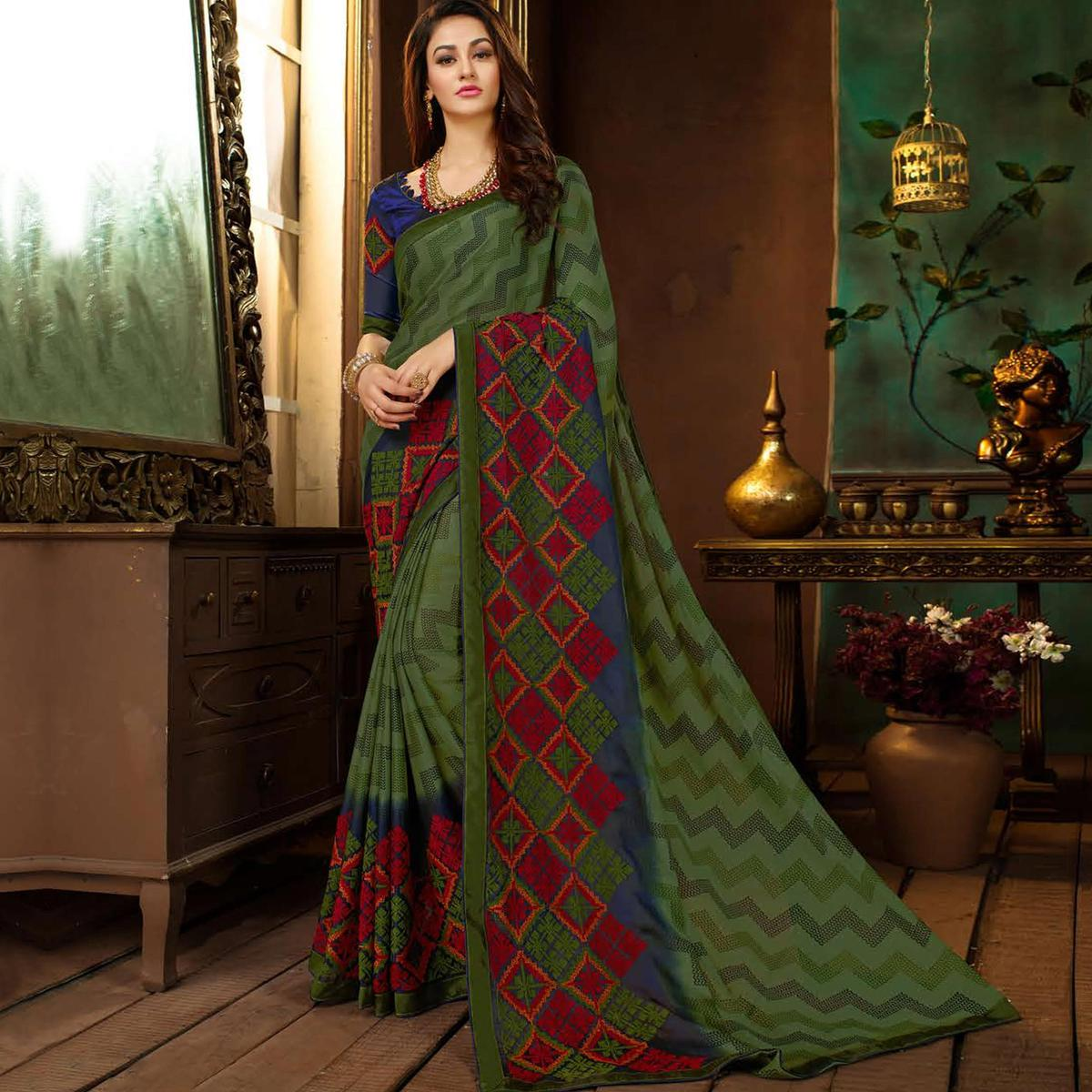 Special Green Colored Partywear Printed Georgette Saree