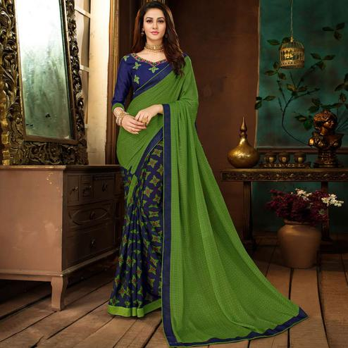 Amazing Green-Blue Colored Partywear Printed Georgette Half-Half Saree