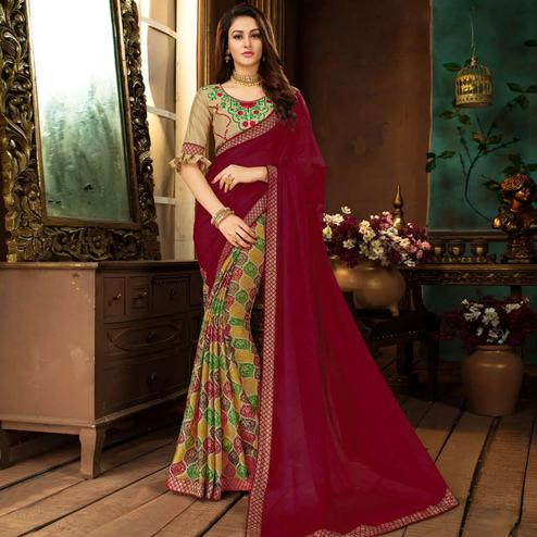 Adorning Dark Pink-Multi Colored Partywear Printed Georgette Half-Half Saree