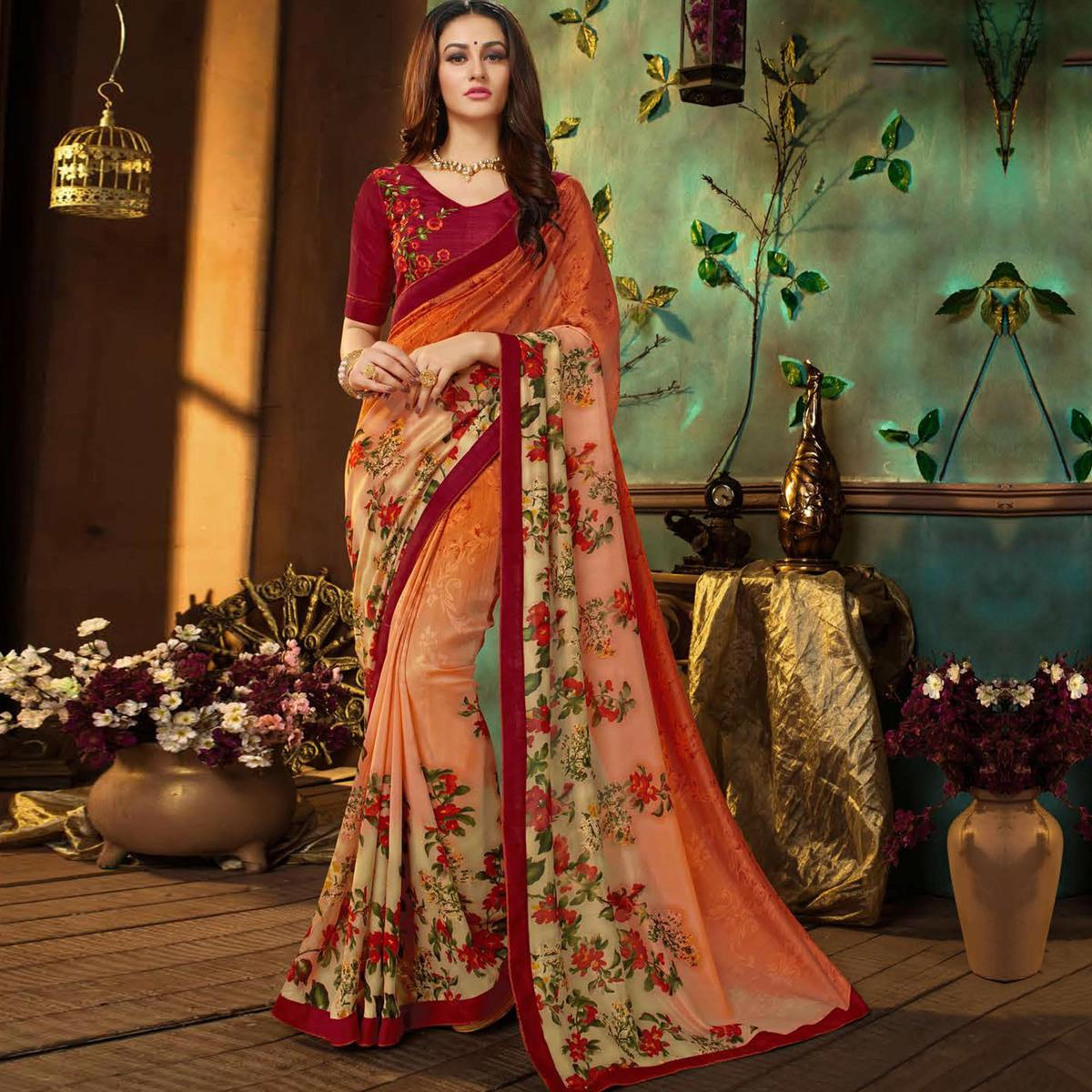 Trendy Orange-Multi Colored Partywear Printed Georgette Saree