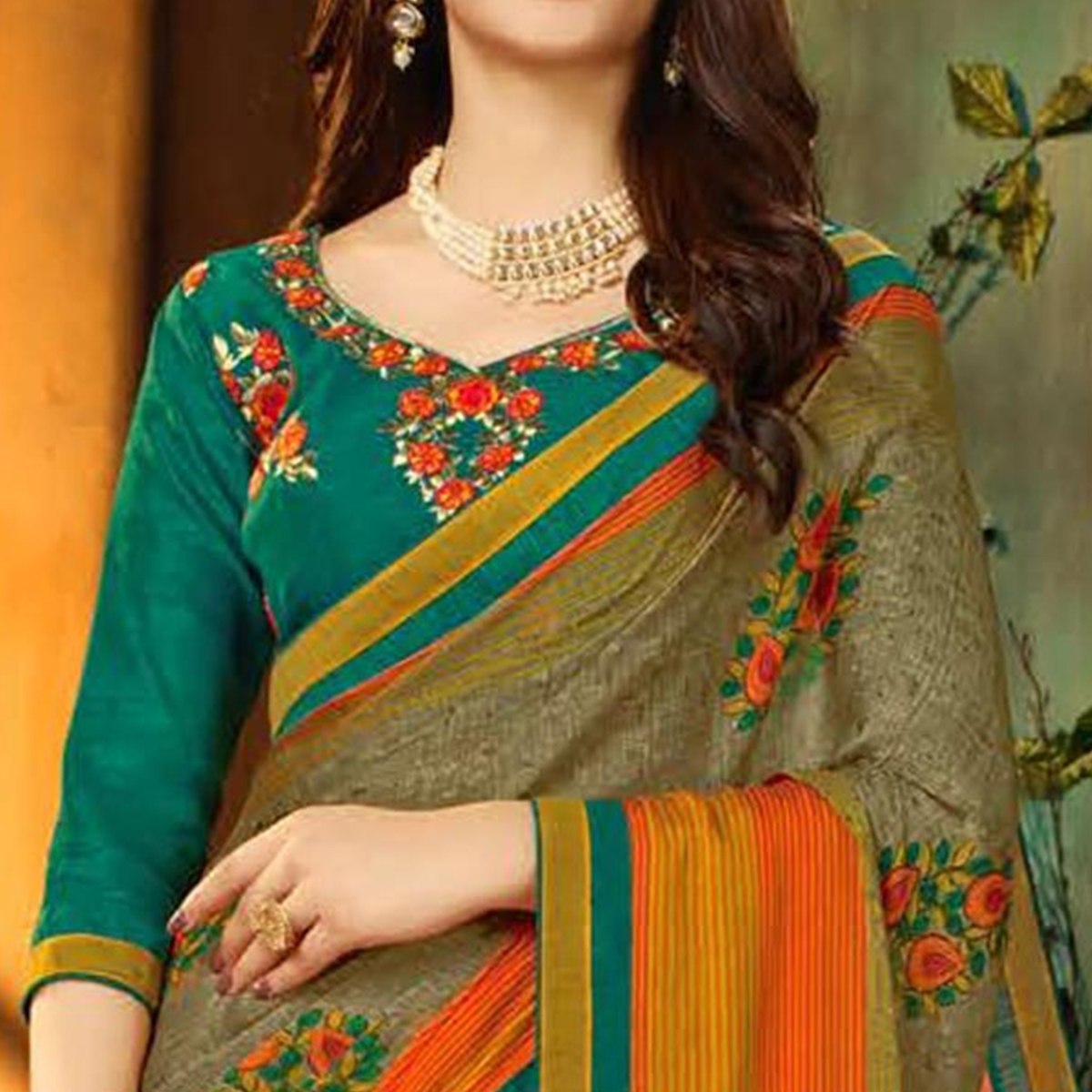 Special Light Olive Green Colored Partywear Printed Georgette Saree