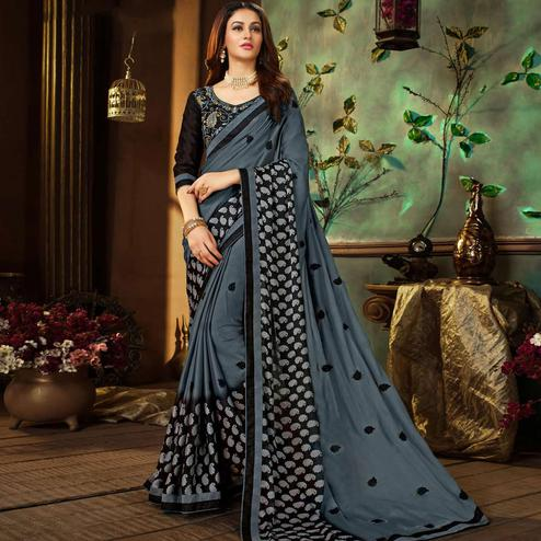 Pretty Dark Gray Colored Partywear Printed Georgette Saree