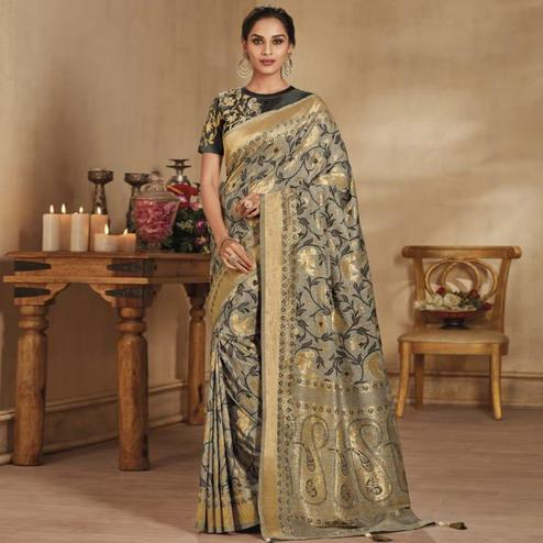 Adorable Light Gray Colored Festive Wear Woven Pure Banarasi Silk Saree