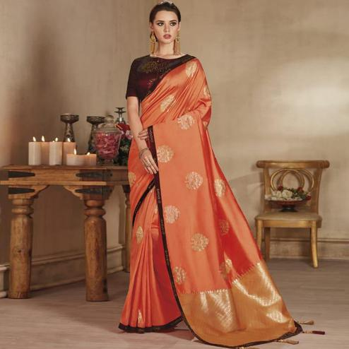 Elegant Orange Colored Festive Wear Woven Pure Banarasi Silk Saree