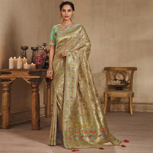 Beautiful Beige Colored Festive Wear Woven Pure Banarasi Silk Saree