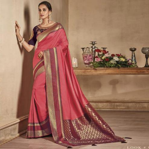 Magnetic Pink Colored Festive Wear Woven Pure Banarasi Silk Saree