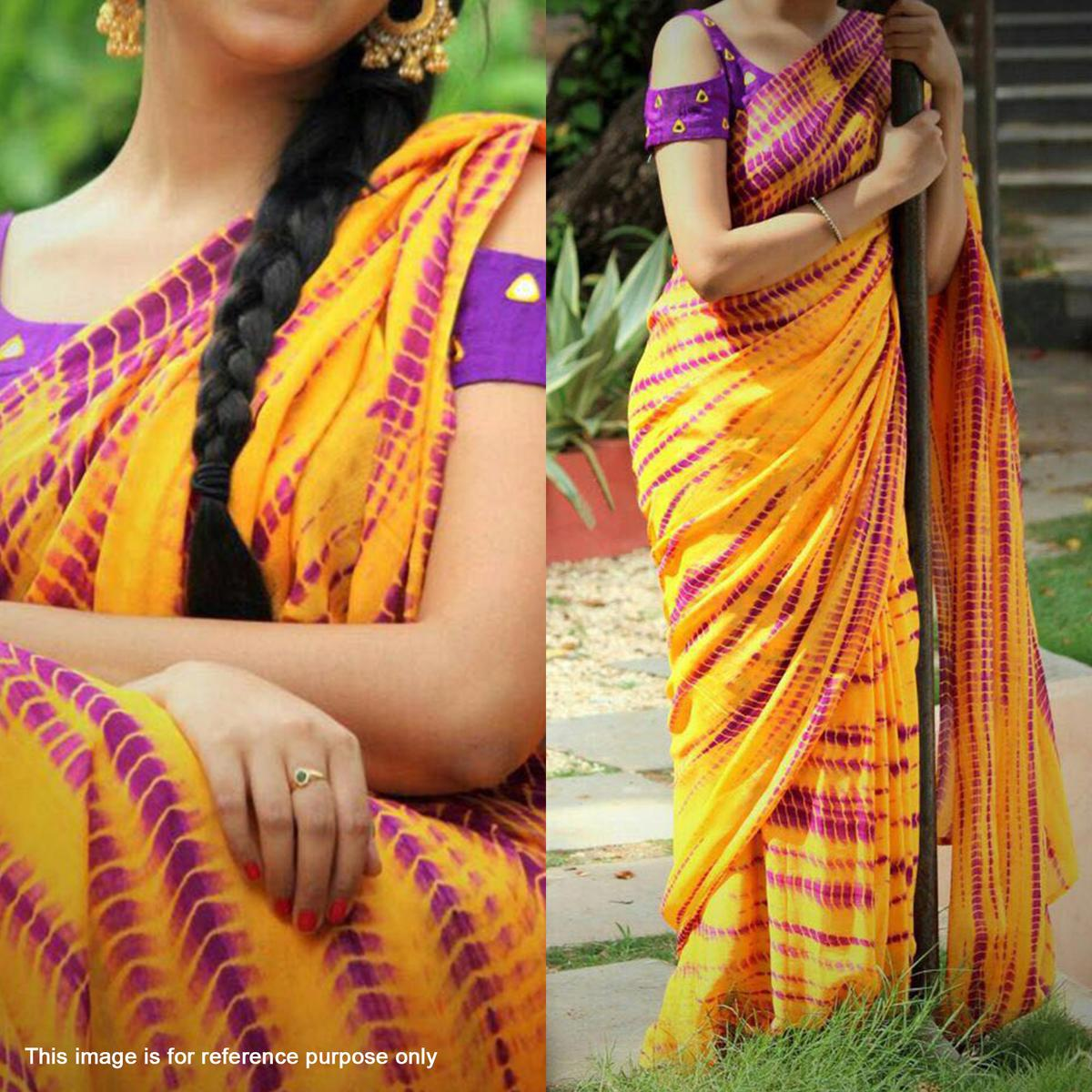 Yellow Georgette Saree With Embroidered Blouse