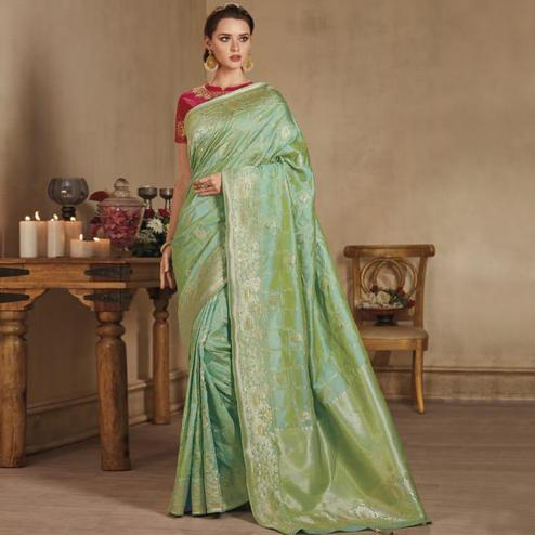 Energetic Green Colored Festive Wear Woven Pure Banarasi Silk Saree