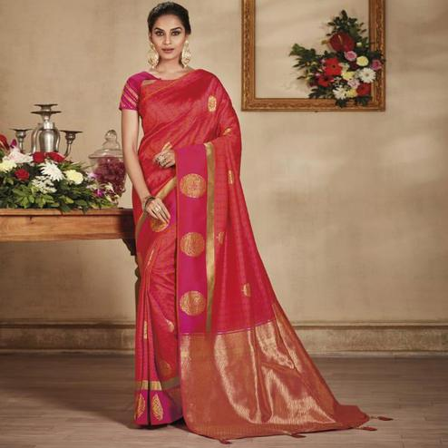 Refreshing Red Colored Festive Wear Woven Pure Banarasi Silk Saree