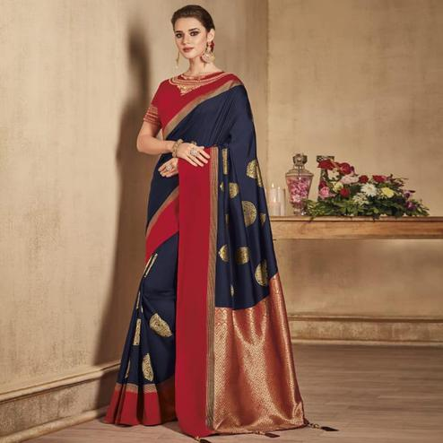 Appealing Navy Blue Colored Festive Wear Woven Pure Banarasi Silk Saree