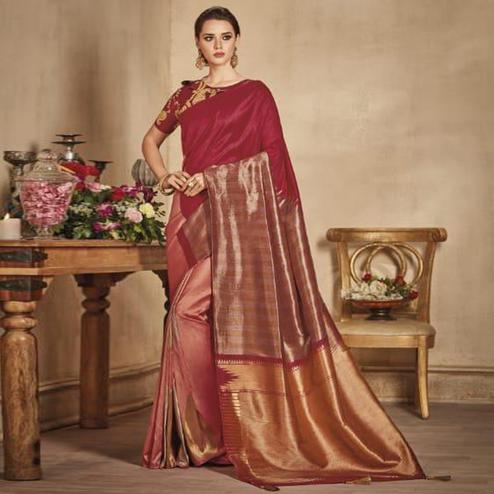 Sophisticated Red-Pink Colored Festive Wear Woven Pure Banarasi Silk Half-Half Saree