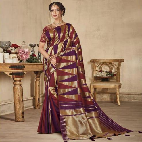 Exceptional Multi Colored Festive Wear Woven Pure Banarasi Silk Saree