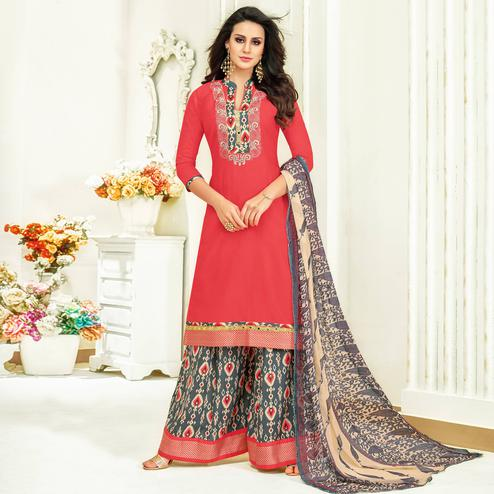 Eye-Catching Pink Colored Partywear Printed Satin Palazzo Suit