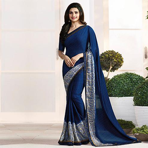 Navy Blue Casual Wear Printed Georgette Saree