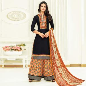 Flaunt Black Colored Partywear Printed Satin Palazzo Suit