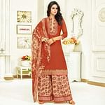 Exceptional Rust Red Colored Partywear Printed Satin Palazzo Suit