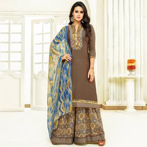 Beautiful Dark Brown Colored Partywear Printed Satin Palazzo Suit