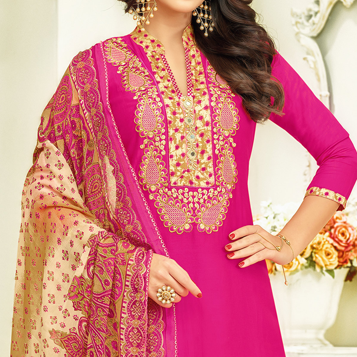 Glowing Pink Colored Partywear Printed Satin Palazzo Suit