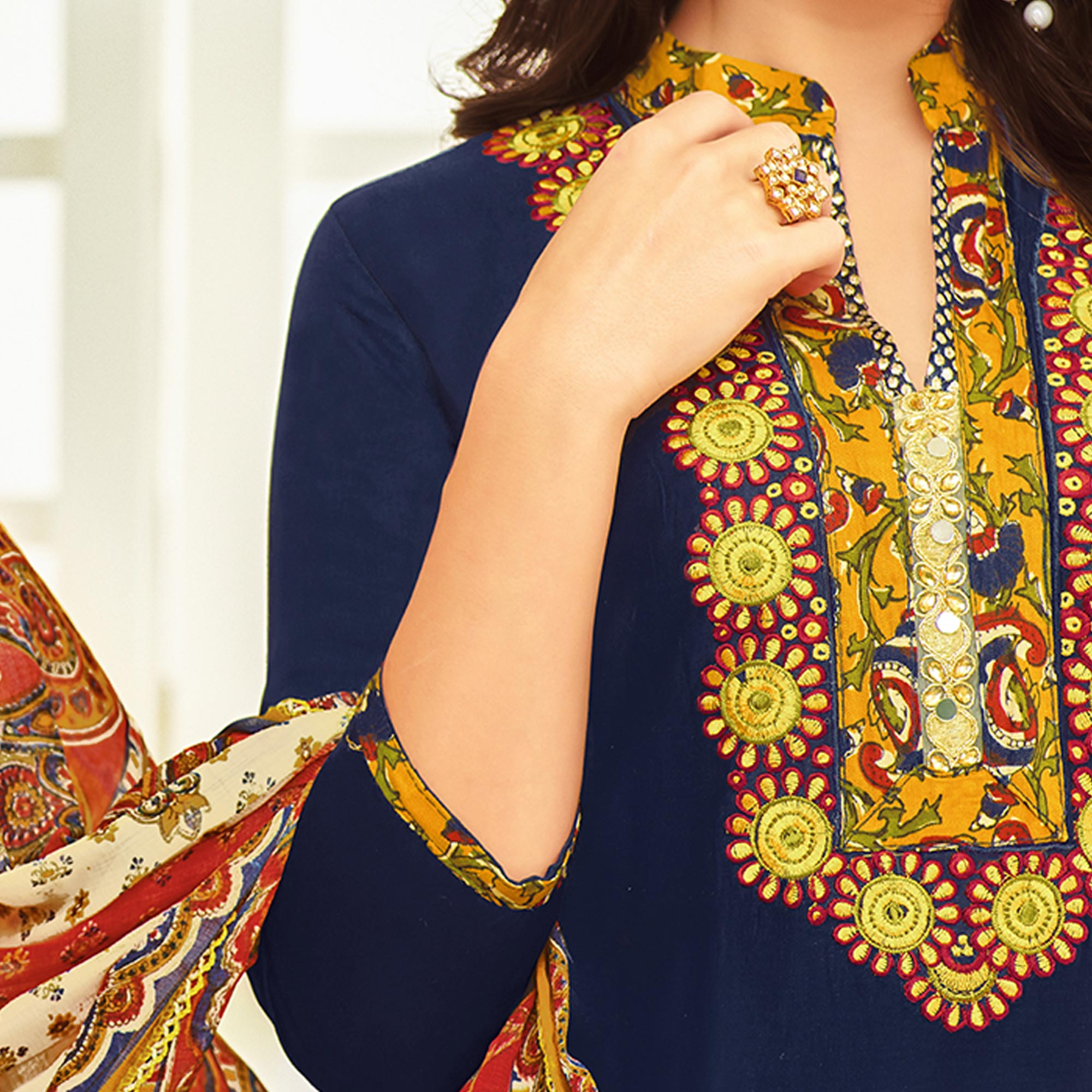 Gorgeous Navy Blue Colored Partywear Printed Satin Palazzo Suit