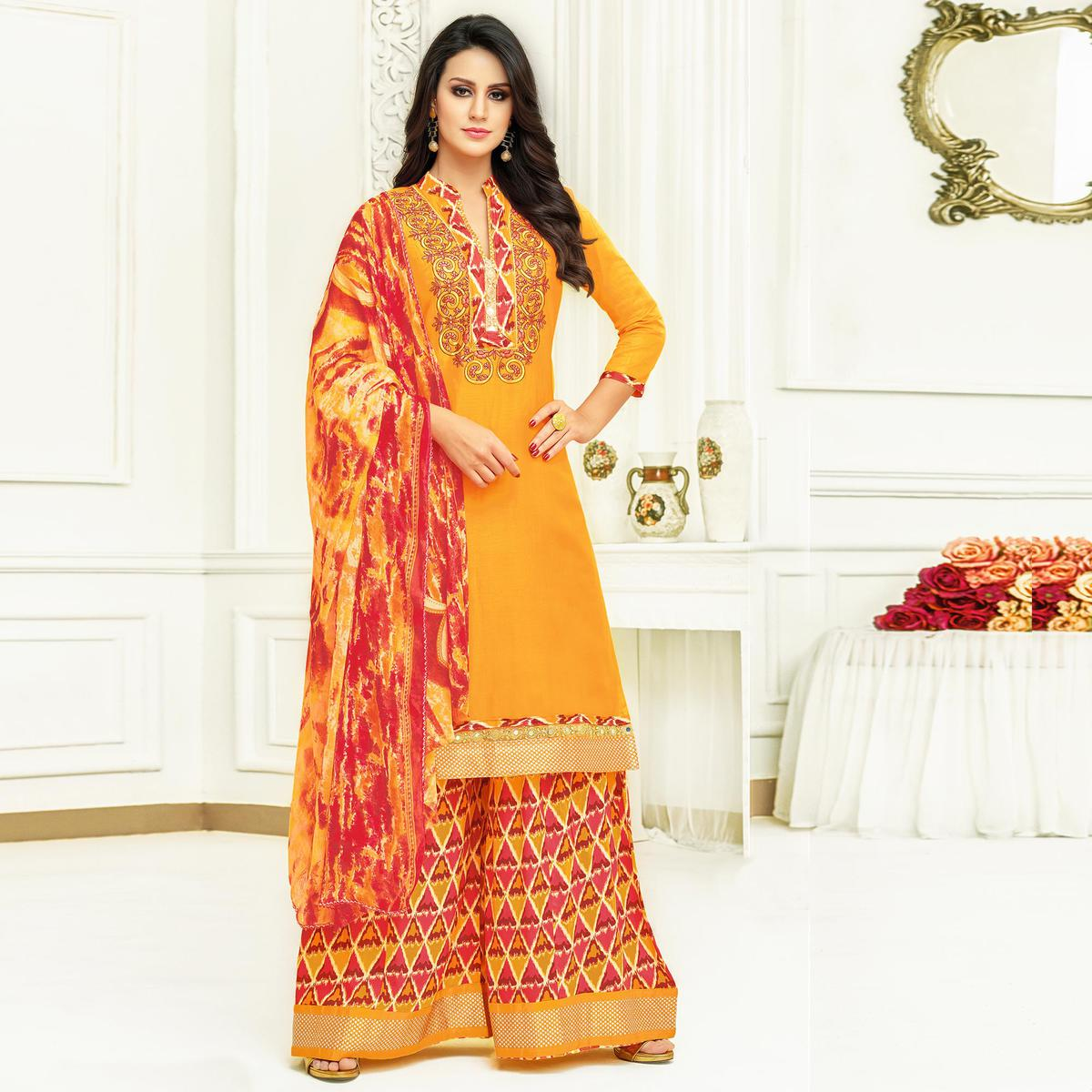Gleaming Yellow Colored Partywear Printed Satin Palazzo Suit