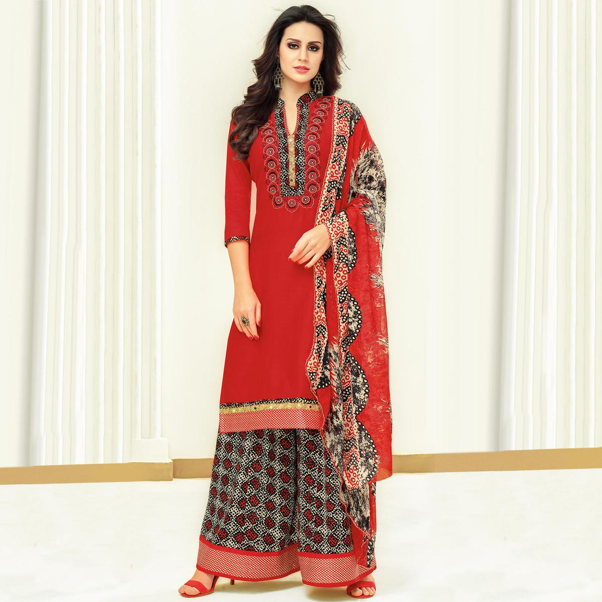 Flawless Red Colored Partywear Printed Satin Palazzo Suit