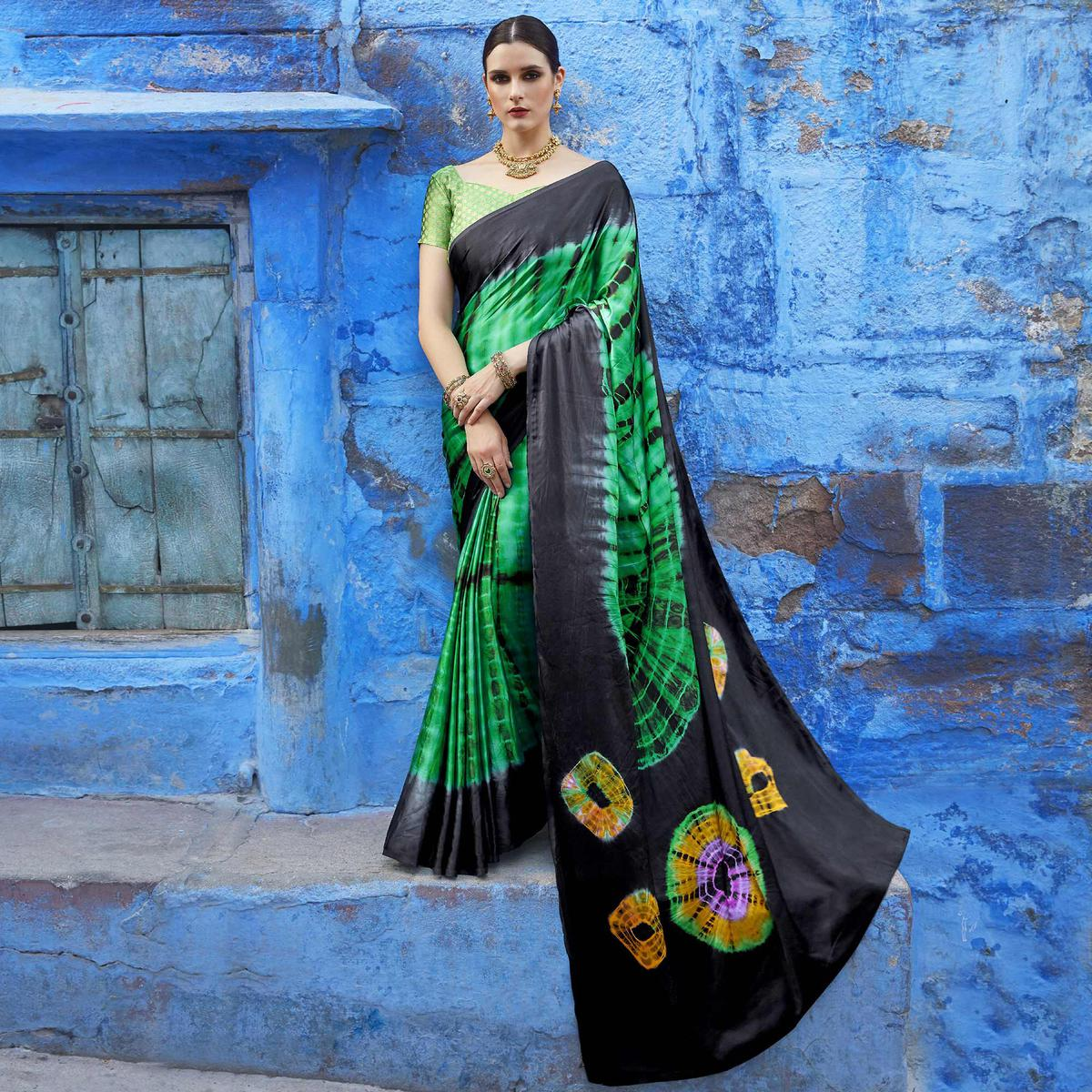 Intricate Green Colored Casual Wear Printed Nylon Satin Saree