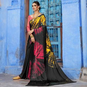 Desirable Black Colored Casual Wear Printed Nylon Satin Saree