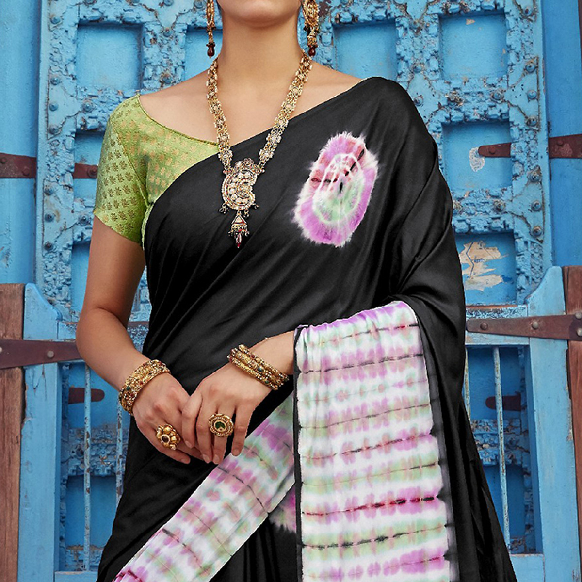 Pleasant Black Colored Casual Wear Printed Nylon Satin Saree