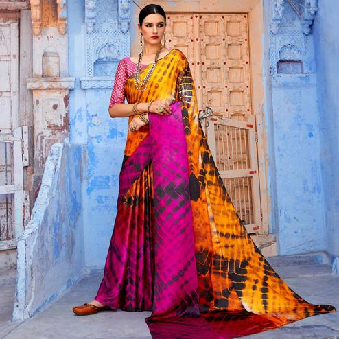 Unique Orange - Pink Colored Casual Wear Printed Nylon Satin Saree