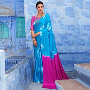Refreshing Sky Blue Colored Casual Wear Printed Nylon Satin Saree