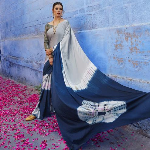 Elegant Grey - Navy Blue Colored Casual Wear Printed Nylon Satin Saree