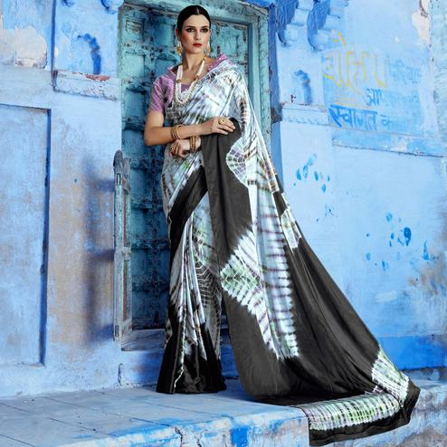 Alluring Light Sky Blue Colored Casual Wear Printed Nylon Satin Saree