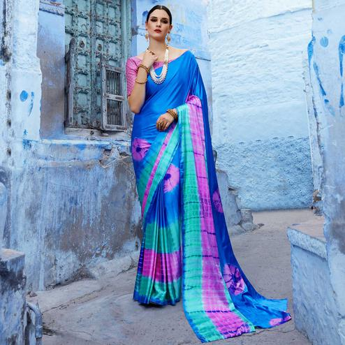 Radiant Sky Blue Colored Casual Wear Printed Nylon Satin Saree