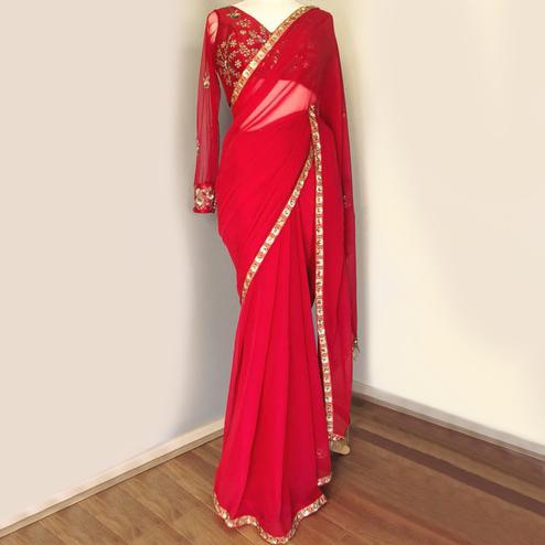 Amazing Red Colored Partywear Embroidered Marble Art Silk Saree