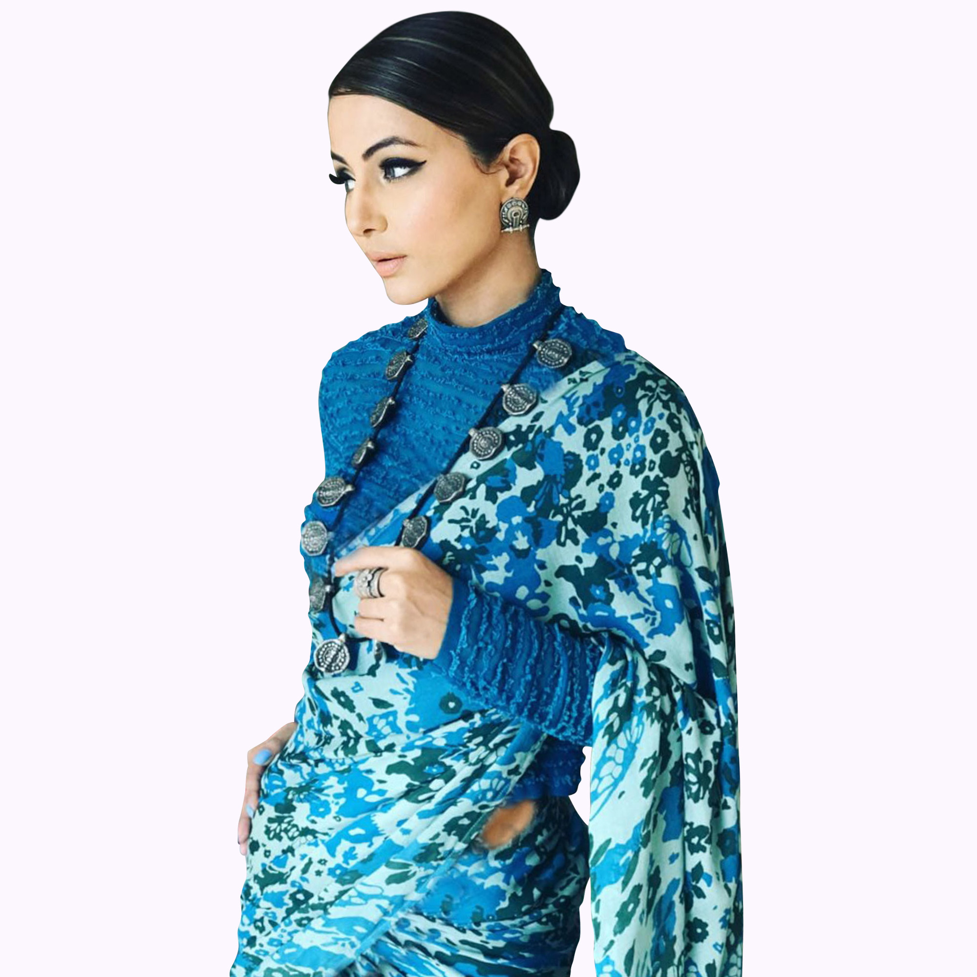 Marvellous Blue Colored Partywear Printed Pure Rangoli Crepe Saree