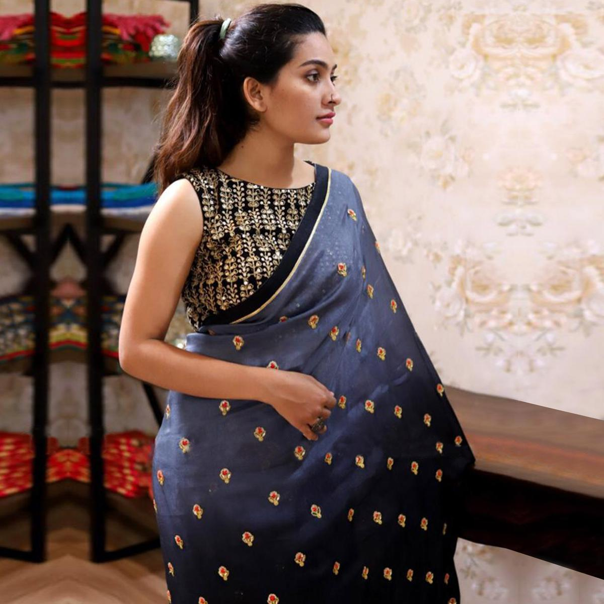 Gorgeous Gray-Black Colored Partywear Embroidered Georgette Saree