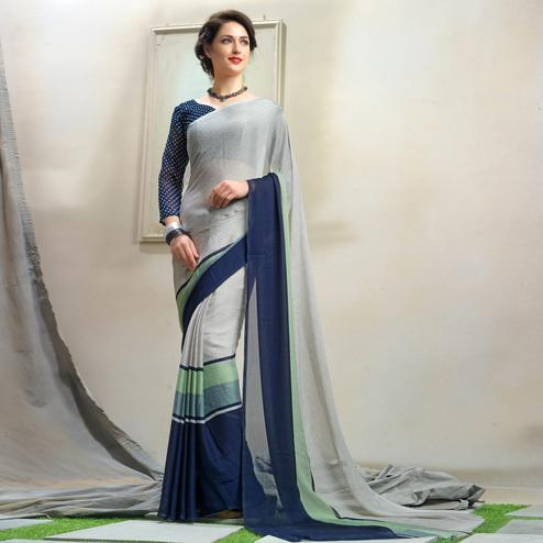 Sensational Gray Colored Casual Wear Chiffon Saree