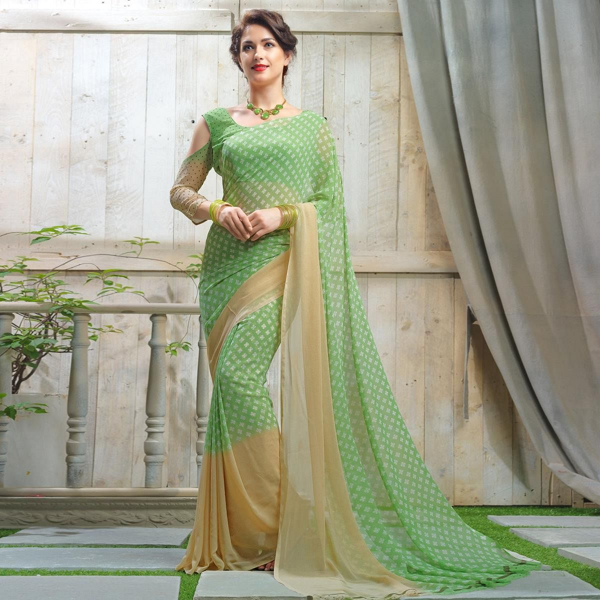 fadaa54fe Buy Radiant Green Colored Casual Printed Faux Georgette Saree For womens  online India