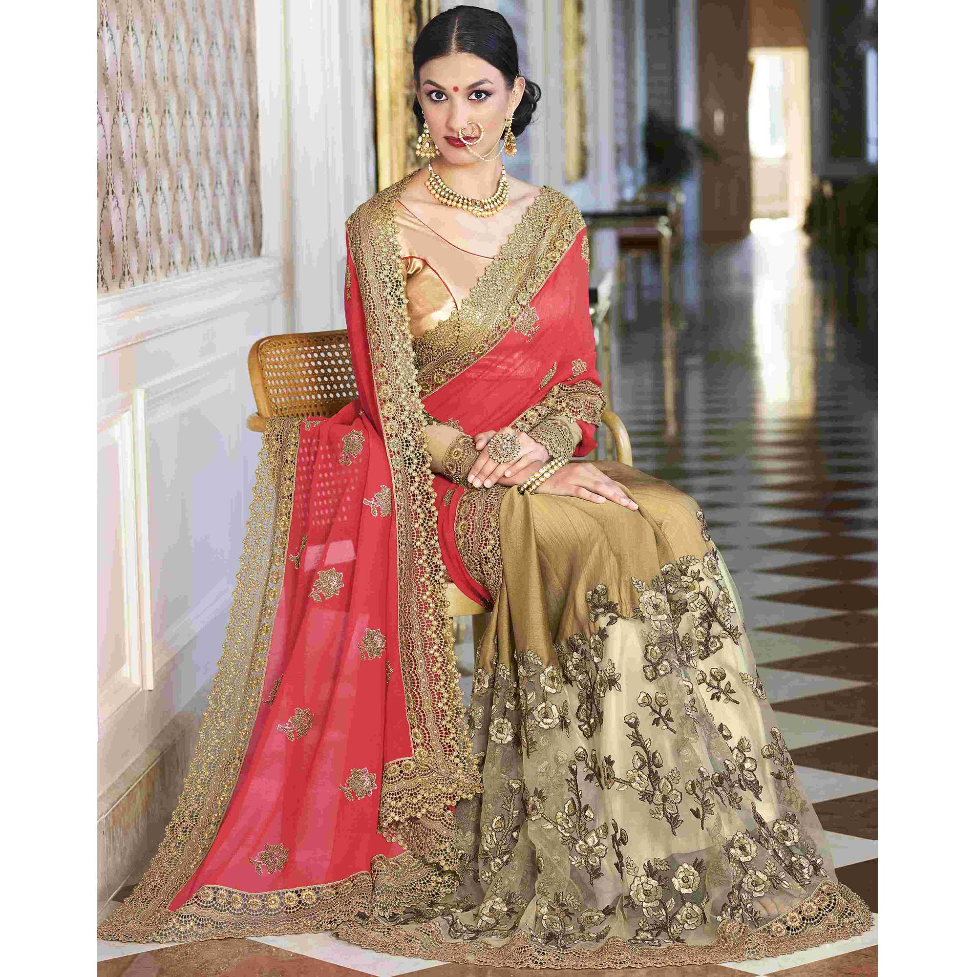 Unique Pink-Chiku Colored Partywear Embroidered Faux Georgette Half-Half Saree