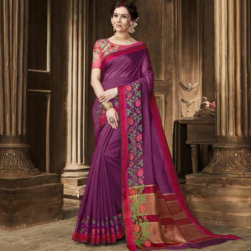 Trendy Purple Colored Festive Wear Embroidered Art Silk Saree