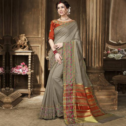 Hypnotic Gray Colored Festive Wear Embroidered Art Silk Saree