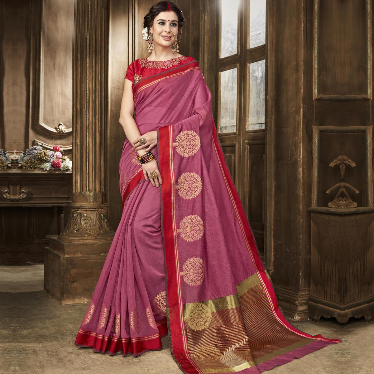 Glowing Pink Colored Festive Wear Woven Art Silk Saree