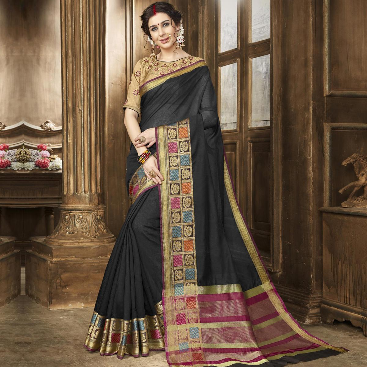 Flirty Black Colored Festive Wear Woven Art Silk Saree