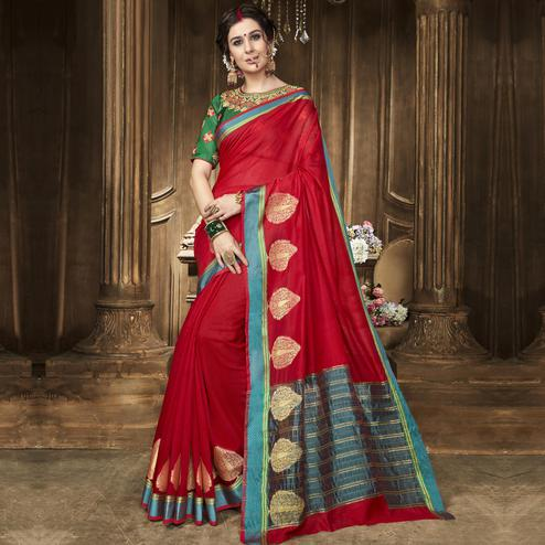 Captivating Red Colored Festive Wear Woven Art Silk Saree