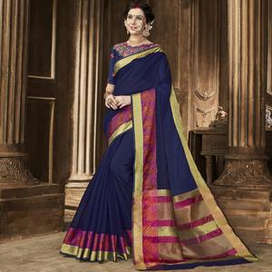 Adorning Navy Blue Colored Festive Wear Woven Art Silk Saree