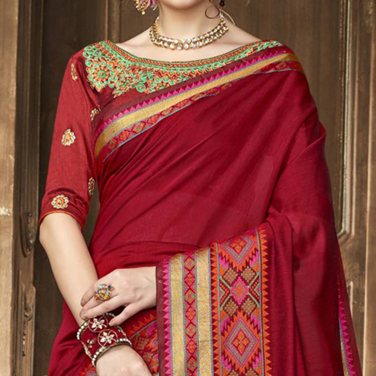 Capricious Maroon Colored Festive Wear Woven Art Silk Saree