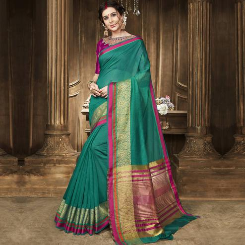 Prominent Turquoise Green Colored Festive Wear Woven Art Silk Saree