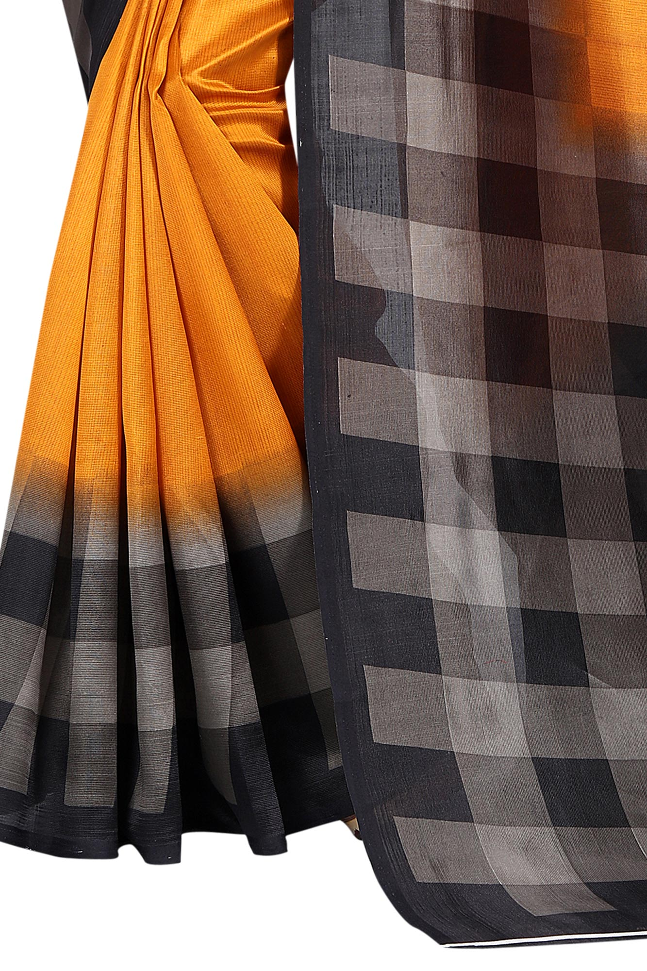 Gorgeous Orange - Black Checkered Printed Saree